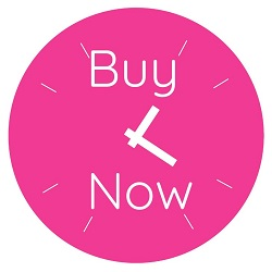 Pink clock with Buy Now Templates for sale to help small businesses function more efficiently