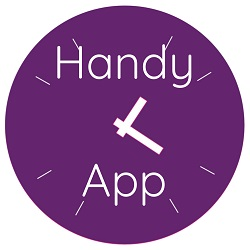 Purple clock with Handy App to help small businesses with time management