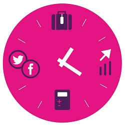Pink Clock Travel planning, Sales marketing, Bookkeeping, Social Media