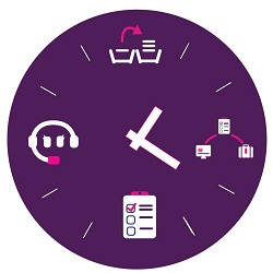 Purple clock Telephone Answer Service, Admin Support, Virtual PA and Event Management
