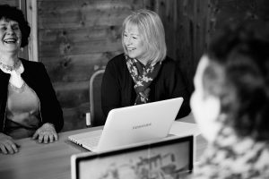Women working on laptops: Collaborative workspace with Virtual Assistant to SMEs in Devon and Cornwall. Virtual PA: Time Well Spent