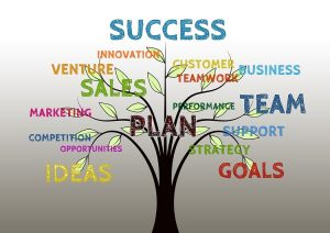 Success Tree with ideas, plan, goals,